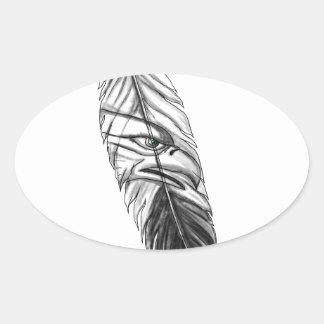 Sticker Ovale Tatouage de plume d'Eagle de mer