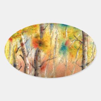 Sticker Ovale Trembles dans l'automne