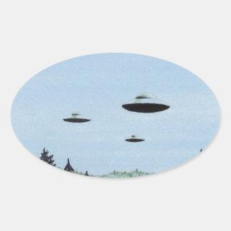 Sticker Ovale Trio d'UFO