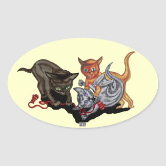 Sticker Ovale Trois petits chatons