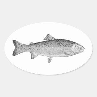 Sticker Ovale Truite vintage