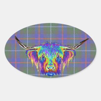 Sticker Ovale Une belle vache des montagnes colorée sur le