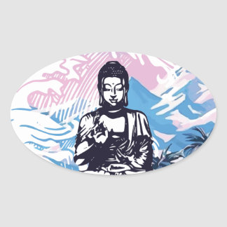 Sticker Ovale Vague de montagne tropicale de Bouddha