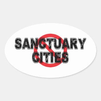 Sticker Ovale Villes de sanctuaire d'interdiction