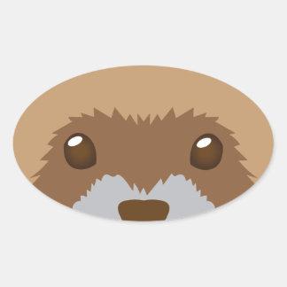 Sticker Ovale visage mignon de furet