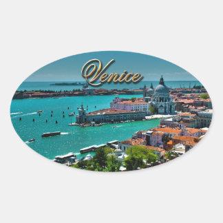 Sticker Ovale Vue d'oeil d'oiseau de Venise, Italie