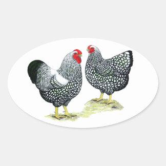 Sticker Ovale Wyandottes Argent-a lacé des paires