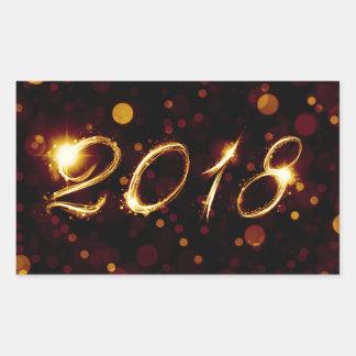 Sticker Rectangulaire 2018 (lumières de bokeh)