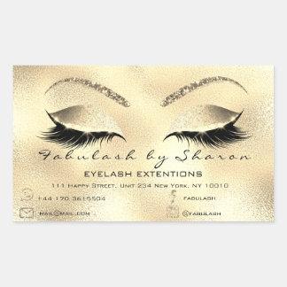 Sticker Rectangulaire Adresse Gold2 de salon de beauté de maquillage