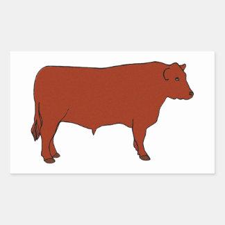Sticker Rectangulaire Angus rouge Taureau