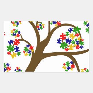 Sticker Rectangulaire Arbre d'autisme de la vie