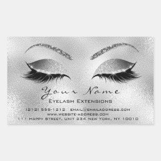 Sticker Rectangulaire Argent VIP de salon de beauté de maquillage