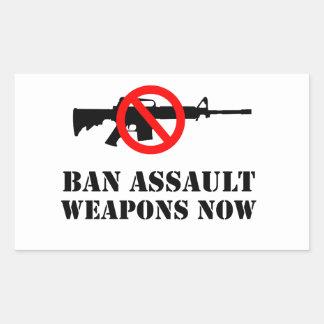 Sticker Rectangulaire Armes d'assaut d'interdiction