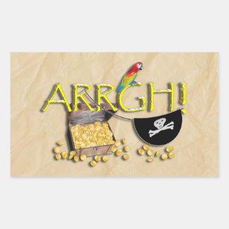 Sticker Rectangulaire ARRGH ! Avec le trésor de pirate, correction de