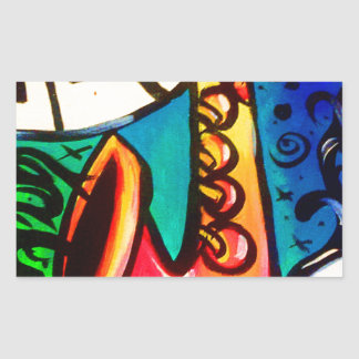Sticker Rectangulaire Art de musique de saxo