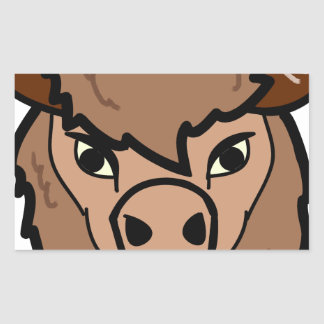 Sticker Rectangulaire art de visage de bison