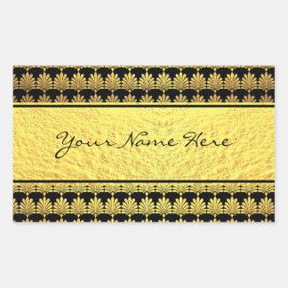Sticker Rectangulaire Art déco de fantaisie d'or de Faux avec le nom
