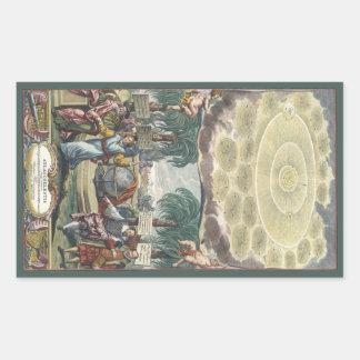 Sticker Rectangulaire Atlas Coelestis par Doppelmaier, astronomie