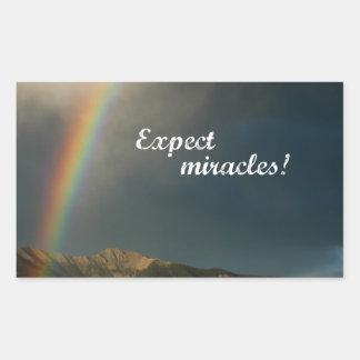Sticker Rectangulaire Attendez-vous à des miracles !