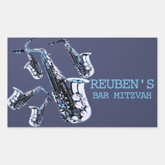 Sticker Rectangulaire Barre Mitzvah de saxophone