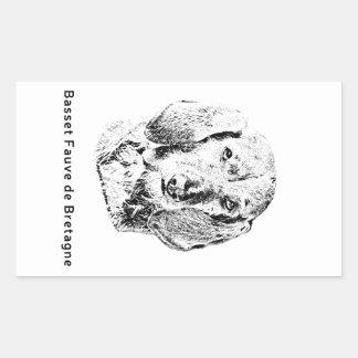 Sticker Rectangulaire Basset Fauve de la Bretagne Drawing
