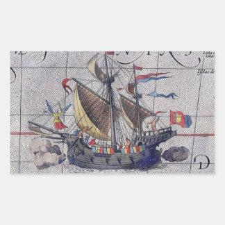 Sticker Rectangulaire Bateau et carte grands de l'océan pacifique