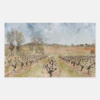 Sticker Rectangulaire Beau vignoble au printemps