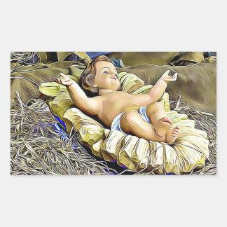 Sticker Rectangulaire Bébé Jésus dans l'autocollant religieux de Noël de