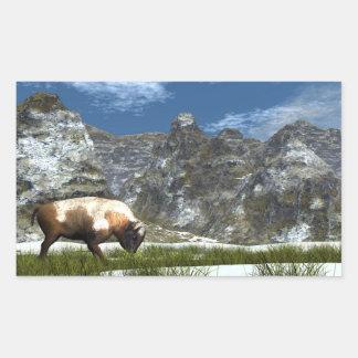Sticker Rectangulaire Bison dans la montagne