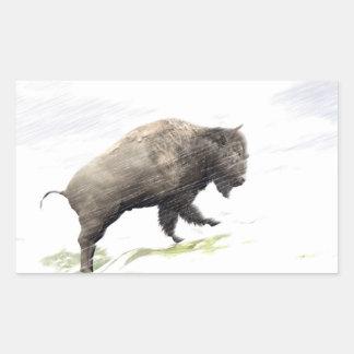 Sticker Rectangulaire Bison dans la tempête d'hiver