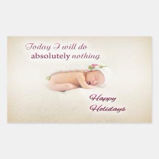 Sticker Rectangulaire Bonnes fêtes bébé de sommeil