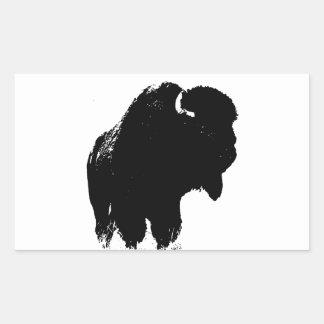 Sticker Rectangulaire Buffalo noir et blanc de bison d'art de bruit
