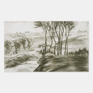 Sticker Rectangulaire Camille Pissarro - paysage près d'Osny (état II)
