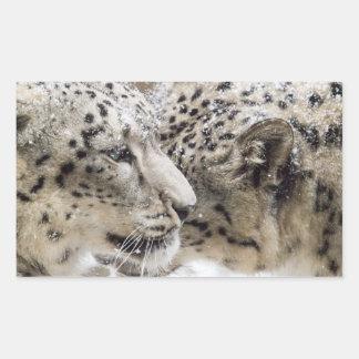 Sticker Rectangulaire Caresse de léopard de neige