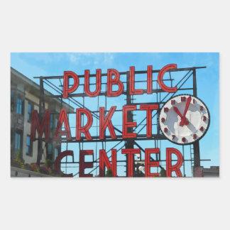 Sticker Rectangulaire Centre de marché public à Seattle Washington