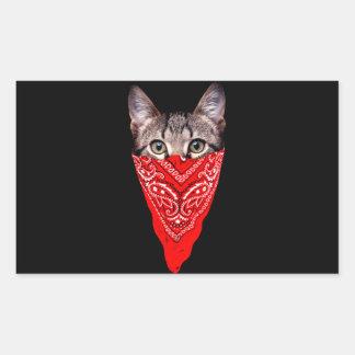 Sticker Rectangulaire chat de bandit - chat de bandana - bande de chat