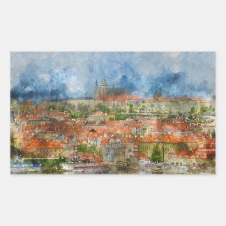 Sticker Rectangulaire Château de Prague dans la République Tchèque