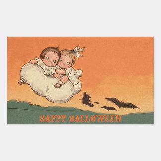 Sticker Rectangulaire Chauves-souris et sorcière effrayantes d'enfants