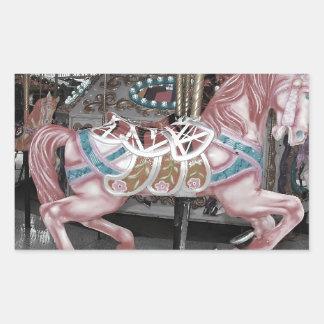 Sticker Rectangulaire Cheval rose de carrousel
