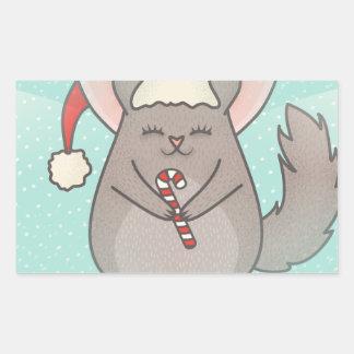 Sticker Rectangulaire chinchillas de Noël