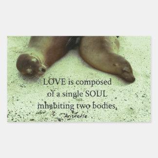 Sticker Rectangulaire Citation d'Aristote de soulmates d'amour