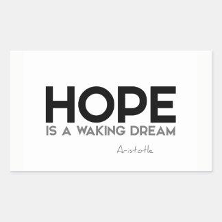 Sticker Rectangulaire CITATIONS : Aristote : Espoir : réveil du rêve