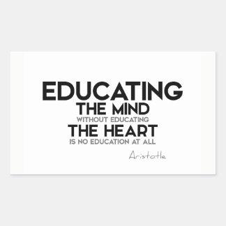 Sticker Rectangulaire CITATIONS : Aristote : Instruction de l'esprit,