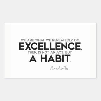 Sticker Rectangulaire CITATIONS : Aristote : L'excellence est une