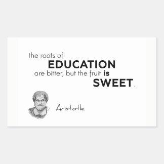 Sticker Rectangulaire CITATIONS : Aristote : Racines d'éducation