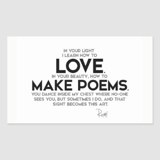 Sticker Rectangulaire CITATIONS : Rumi : Apprenez comment aimer