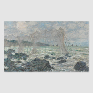 Sticker Rectangulaire Claude Monet - filets de pêche chez Pourville