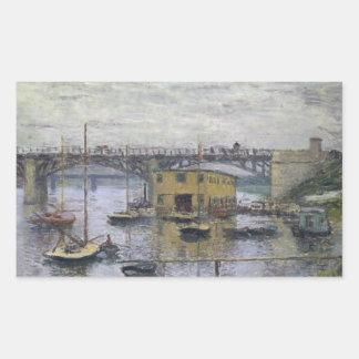 Sticker Rectangulaire Claude Monet - pont à Argenteuil un jour gris