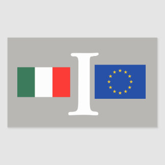 STICKER RECTANGULAIRE COLLE ITALIE UNION EUROPÉENNE