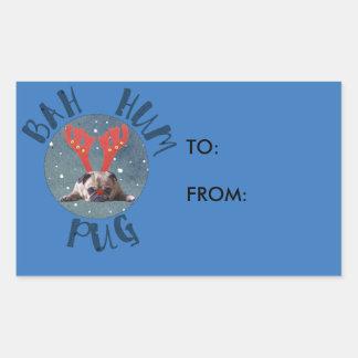Sticker Rectangulaire Collection de Noël de carlin de bourdonnement de